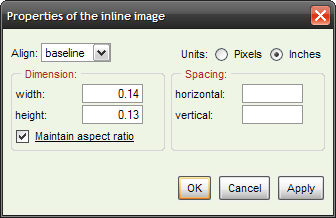 Properties dialog, inches