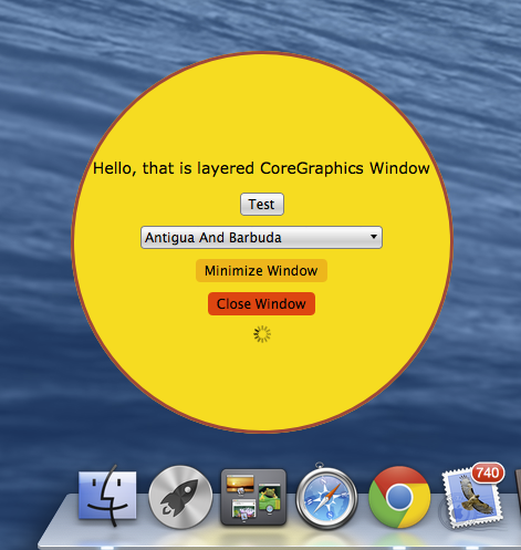 Sciter layered window demo on Mac OS X